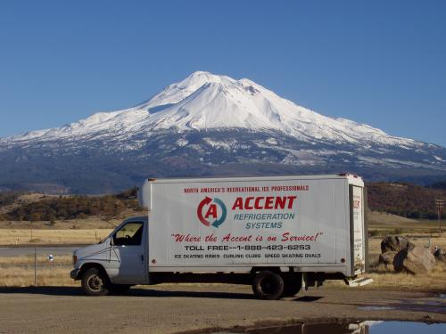 Accent Refrigeraiton truck at Mount Shasta