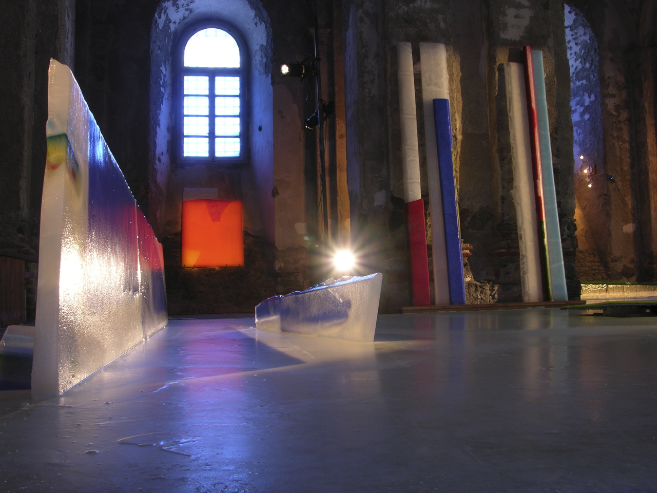 Gordon Halloran's 3 dimensional abstract paintings imbedded in ice at the 2006 Torino Olympic Games
