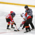 Kids in a hockey face off